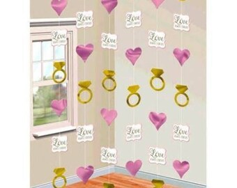 Set Of 6 Glimmering Gold & Pink Sparkle Hanging Doorway Strings - Perfect Wedding Shower Decor! - Create A Beautiful Celebration!