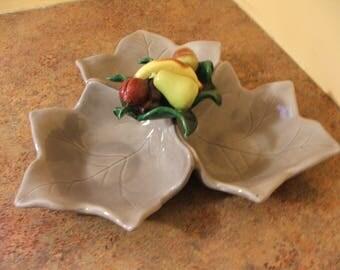 Vintage 1950s Yona of California Pottery 3-section Leaf Tidbit Tray / Snack Server