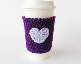 Purple Coffee Sleeve, Coffee Cozy,  Coffee Cup Sleeve, Tea Cozy, Valentine's Day Gift, Gift For Mom, Co-Worker Gift