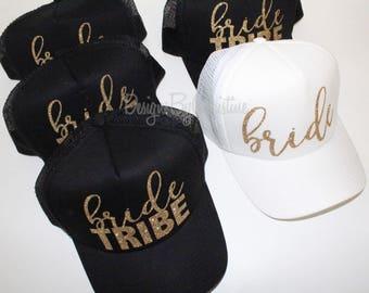 Bride Tribe Trucker Caps. Bride Trucker hat. Bachelorette hats. Bridesmaid glitter hats. Gold glitter hats.