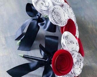Paper Flower Bouquet - Wedding Bouquet Alternative - Wedding Bouquet - Bridal Bouquet - Paper Flowers - At Last Music Page -  Red White