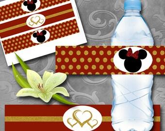 Red & Gold Girlie Mouse Bottle Labels Instant Download Printable Bottle Labels