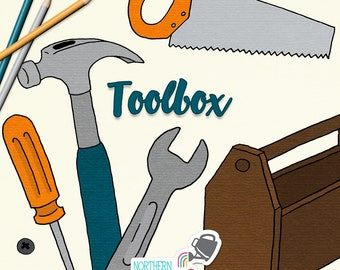 Father's Day Clip Art - hand drawn tool and toolbox illustrations - hammer, screwdriver, wrench, and saw drawings - commercial use CU OK
