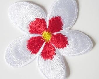 Shield patch applique craft old school rockabilly pin up retro vintage plumeria flower