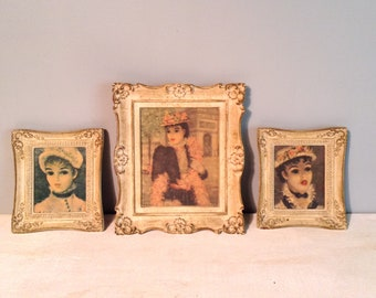 Vintage Set of Three Cherry Jeffe Huldah Prints in Matching French Provincial Frames / Huldah Woman Portrait Prints / 1950's
