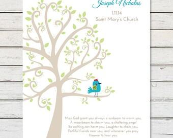 BAPTISM GIFT, Baptism Tree Print, Baby Boy Baptism, Baptism Keepsake, Godson Gift, Personalized Baptism Gift, Gift for Godchild, Christening
