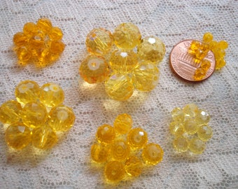 Yellow Faceted Rondelles & Rounds 6 Sizes. 3x4, 4x6, 6x6, 6x8, 8x10, 10x12mm Full Strands. Sunny Translucent Yellow Glass Beads