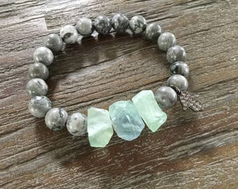 Raw Fluorite Cube and  Scenery Jasper Gemstone Bracelet/Cubic Zirconia Hamsa charm/Stacking Beaded Bracelet/Gray/Green/Boho Bracelet