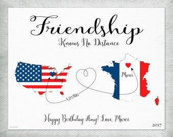 Friendship Knows No Distance Gift, Going Away Gift for Friend, Birthday Gift for Friend, Flag Map Art, Customize With Any Two Countries