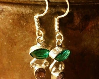 "Holiday SALE 85 % OFF 70 Percent Off  Coupon: "" MLK70"" Amethyst  Multistone Green Quartz Earrings Peridot Tribal Ethnic Gemstone  .925 Sterl"