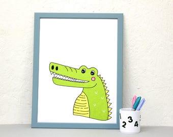 Crocodile Screenprint, animal wall art, A3 print, nursery print, kids room art, colourful print, screen print poster, cute animal poster