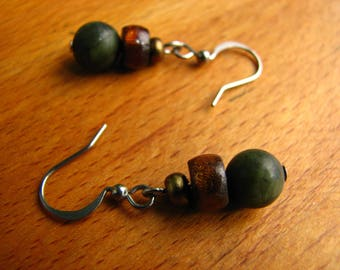 3595 -  Earrings  Labradorite, Nacre