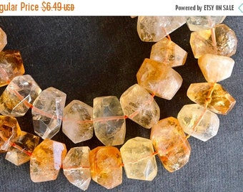 15% off SALE Citrine Nugget Beads, Faceted Citrine Nuggets, Large Yellow Stone Beads (3 beads) Yellow Gemstone, 15-20mm Natural Citrine