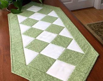 Quilted Sage Green Table Runner Classic Handmade Patchwork Tablecloth