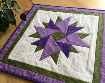Purple Quilted Table Topper or Wall Hanging Geometric Handmade Patchwork Tablecloth