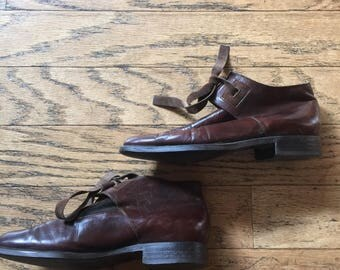 Vintage France Brown Leather Ankle Boots // Size  5.5