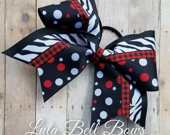Red, Black and White Cheer Bows