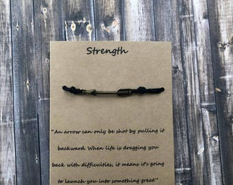 Strength Arrow Wish Bracelet-Motivation-Powerful-Make A Wish