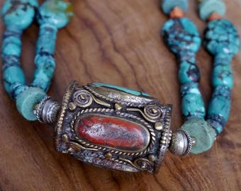 Beaded Necklace...Double strand turquoise necklace