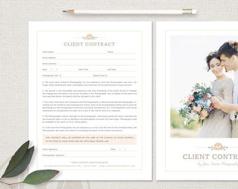 Contract Template for Photographers - Photography Contract, Session Contract Template, Photographer Contract, Photography Business
