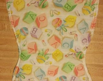 Alphabet blocks, rattles, diaper pins Baby burp cloth handmade