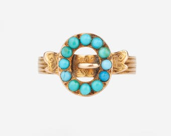 A Georgian Turquoise Buckle Ring
