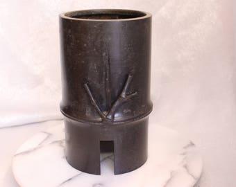 Vintage Japanese Ikebana Vase MetalVase Bamboo Design Japan