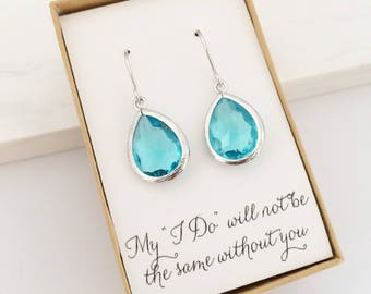 Aqua Blue Silver Teardrop Bridesmaid Earrings, Bridesmaid Gift Jewelry, Aqua Drop Earrings, Aqua and Silver Earrings, Blue Earrings