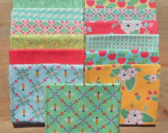 Bumble Berries Fat Quarter Bundle - The Jungs - Moda - 13 fat quarters  100% Cotton-strawberries, blue, pink, yellow, red, green, white