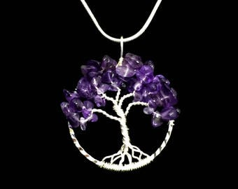 Amethyst chrome diopside gemstone tree of life jewelry set amethyst gemstone tree of life pendant february birthstone silver tree of life jewelry wire wrapped tree mozeypictures Choice Image