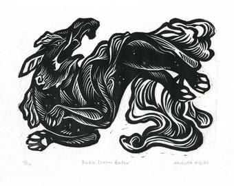 Baku: Dream Eater linocut relief print