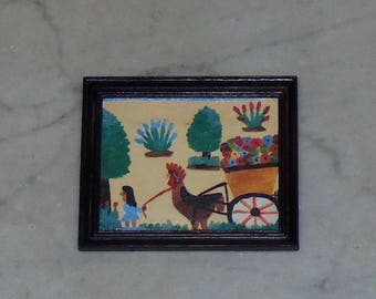 Clementine Hunter Painting for 1:12th Dollhouse.  Framed.