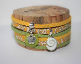 "Bracelet lucky charm ""Eye of Saint Lucia"" yellow & Green"