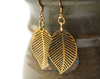 Gold Leaf Earrings, TearDrop Earrings, Patina Earrings, Brass Earrings, Bohemian Earrings