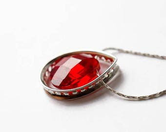 Red Statement Necklace, Red Crystal Necklace, Sterling Silver Choker, Red Statement Necklace, Silver Choker, Silver Teardrop Necklace