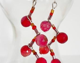 Red Agate Zig Zag Drop Earrings. Drop Earrings. Silver plated Drop Earrings. Gemstone zig zag drop earrings