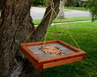 MESQUITE BIRD FEEDER-A Solid Mesquite Bird Feeder, made to last for years.