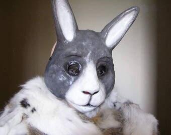 Masquerade mask Rabbit mask Hare mask Bunny mask Animal mask Paper mache mask Halloween mask