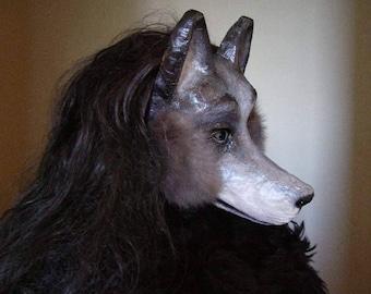 Masquerade mask Wolf mask Dog mask Halloween mask Scary mask Paper mache mask