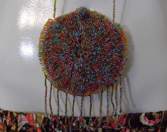 Vintage handmade beaded coin purse necklace / Hippie beads necklace / vintage beaded purse / CarnivalofFASHION