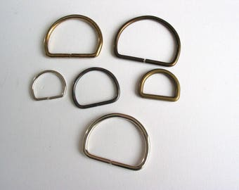 Set of 6 demi-ronds rings in silver, bronze