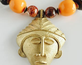 Africa Inspired Orange Copal and Brass Statement Necklace