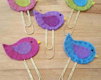 Felt Bird Extra Large Paperclip Bookmarks. Planner accessory