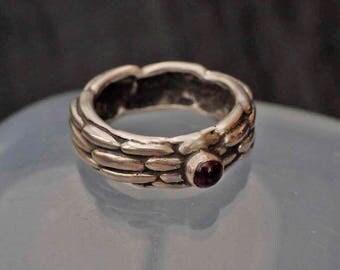 Silver Garnet Ring  size N  (6.75)
