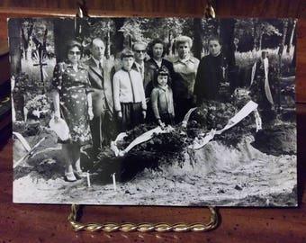 Vintage 1970s Polish Funeral Photograph