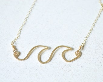 Wave Necklace, Ocean Wave Necklace, Wave Pendant Gold or Silver, Double Wave Necklace