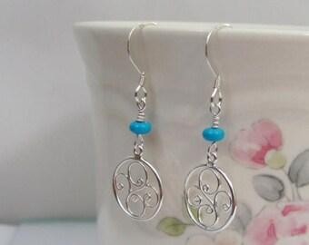 On Sale Turquoise Filigree Earrings in Sterling Silver, December Birthstone Earrings, Turquoise Drop Earrings, Turquoise Jewelry, Delicate