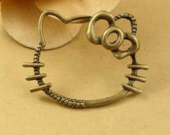 8pcs Hello Kitty Charm Pendant Antique Brass Jewellery Finding 30 x 45mm