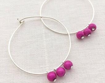 Handmade Silver Filled Hoop Earrings, Pink Beaded Silver Hoop Earrings, Hmong Earrings, Ethnic Earrings