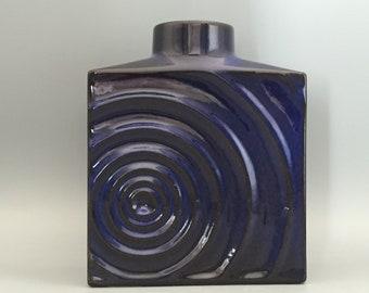 "Steuler  191 / 15  Mid Century modern blue and black OP ART,, Zyklon"" vase, designer Cari Zalloni West Germany Pottery. WGP."